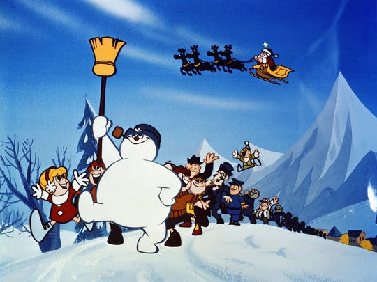 "Frosty and his friends set off in search of the North Pole in ""Frosty the Snowman."""