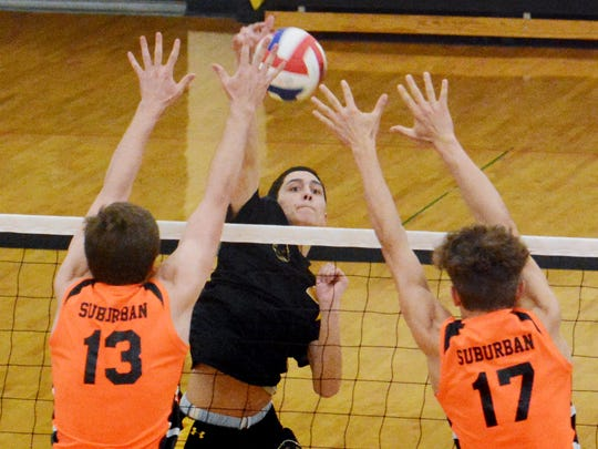 Red Lion's Josh Gregory slams a shot with York Suburban's