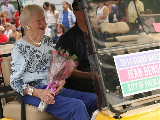 RIGHT: Jean Benson, the longtime Palm Desert city councilwoman and former six-term mayor, serves as grand marshal for the annual parade in Palm Desert on Sunday, October 26, 2014.