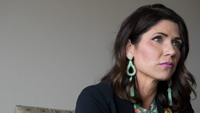 Gubernatorial candidate and Congresswoman Kristi Noem speaks during an interview at the Argus Leader in Sioux Falls, S.D. on Wednesday, May 2, 2018.