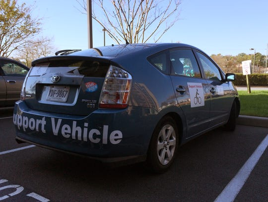 The SAG car used on Lynn Salvo's cross-country ride.