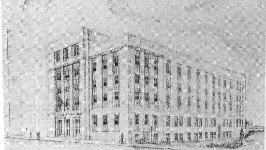 This was the design of the proposed replacement for the York County Courthouse in the 1950s. The design was never implemented, and the courthouse, known as the York County Administrative Center today, remains standing.