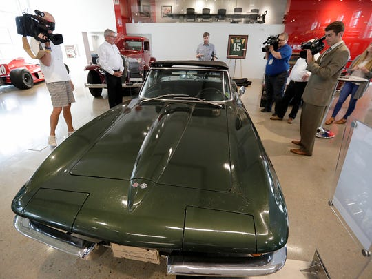A 1967 Corvette Sting Ray awarded to Bart Starr which is now on display at The Automobile Gallery Tuesday, June 14, 2018 in Green Bay, Wis.