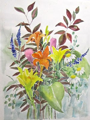 "Watercolor by Sue Hegenbarth, part of the ""Scandia Family and Friends"" show at Meadows Art Gallery."