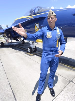 U.S. Marine Corps Maj. Jeff Mullins, a Blue Angels pilot, talksThursday, July 12, 2018, about the team's upcoming air show at Pensacola Beach.