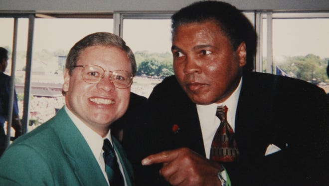 State Sen. Ron Alting poses with Muhammad Ali at a Kentucky Derby.