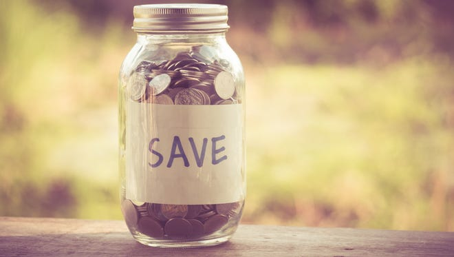 A savings jar filled with spare change.