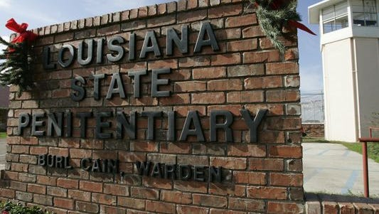 The entrance sign of the Louisiana State Penitentiary in Angola, La., as seen in 2007.