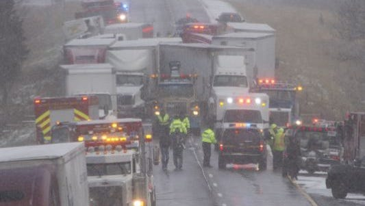 Three people died Thursday in a 53-car pileup on westbound Interstate 96 near Fowlerville and Wallace Road, which is the Livingston-Ingham county line.