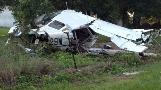 This Friday photo provided by the Wiggins Fire Department shows the wreckage of a single-engine plane near Wiggins.