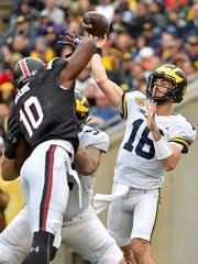 Jan 1, 2018; Tampa, FL, USA; Michigan Wolverines quarterback
