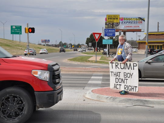 Gale McCray of Fort Worth calls himself an Old Man with a Sign. He was in Abilene at Southwest and Danville drives on Thursday.