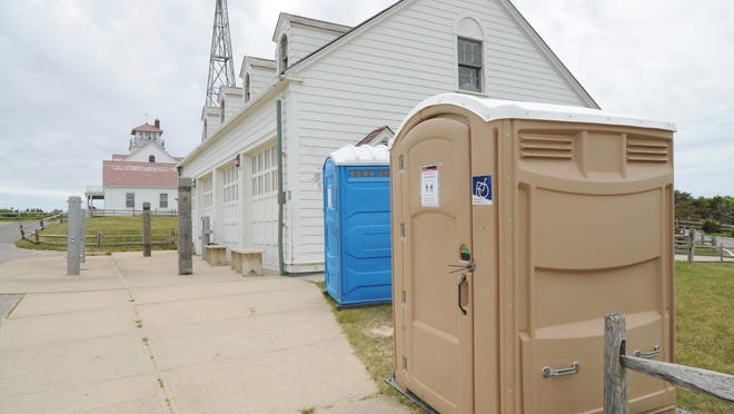 """Port-a-potties are now located at all six Cape Cod National Seashore beaches. The portable toilets are easier to clean, according to Seasahore Superintendent Brian Carlstrom. """"You just open them up and hose them down."""""""