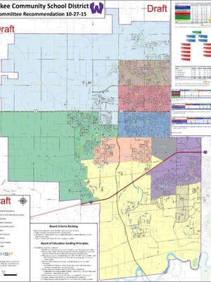 This draft plan shows a final recommendation for elementary school boundaries in Waukee. The school board will make a final decision on boundaries on Dec. 14.  Key: Purple - Brookview Elementary; dark blue - Eason Elementary; light blue - Grant Ragan Elementary; orange - Maple Grove Elementary; red - Shuler Elementary; Brown - Walnut Hills Elementary; Green - Waukee Elementary; Yellow - Woodland Hills Elementary.