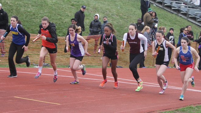 Action during the Nanuet Relays at Nanuet High School on Saturday, April 9th, 2016.