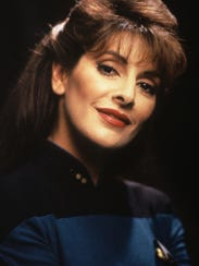 "Marina Sirtis as Deanna Troi  in ""Star Trek: The Next Generation"" star"