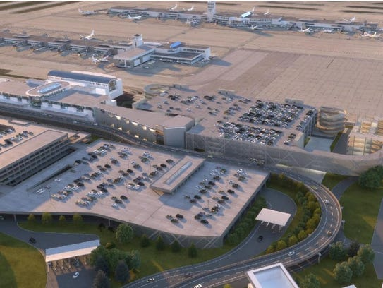 A rendering of massive car rental facility planned