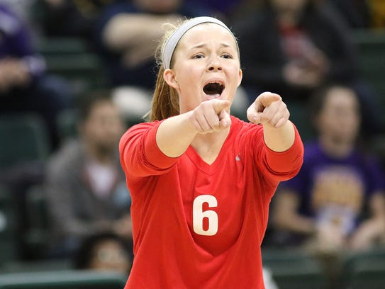 Ursuline Academy Lions  Maggie Huber reacts  during