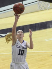 ACU's Breanna Wright drives for a layup against Midwestern State. The Wildcats beat Midwestern 88-67 in the nonconference game Saturday, Dec. 16, 2017 at Moody Coliseum.