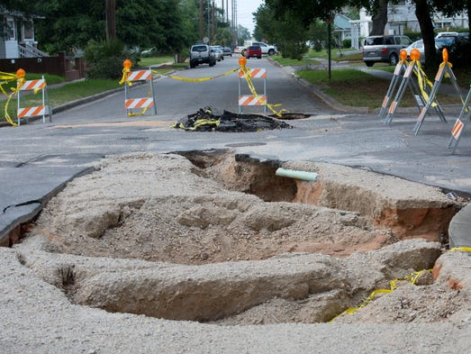Many roads in the area are still left unrepaired from the flooding rains of late April, with Coyle Street from Cervantes to Garden Street being among the worst.