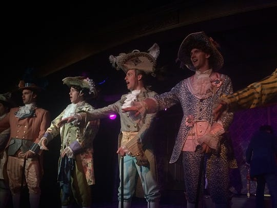 """Cast members from """"The Scarlet Pimpernel"""" perform at"""