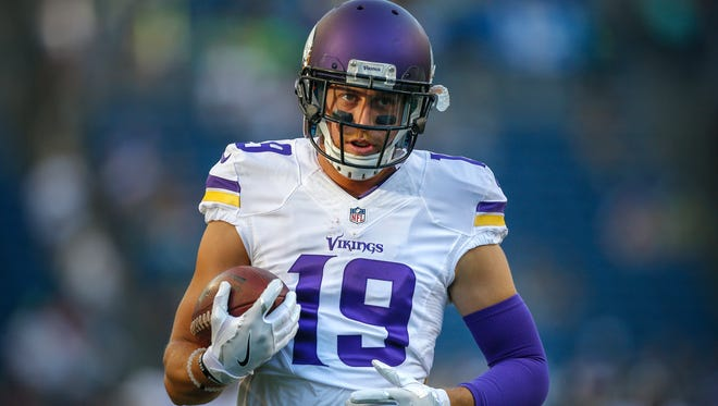 Wide receiver Adam Thielen of the Minnesota Vikings warms up prior to the game against the Seattle Seahawks at CenturyLink Field on Aug. 18, 2016, in Seattle, Washington.