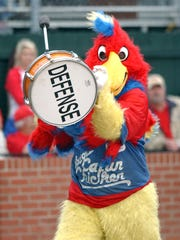 "UL's Fabulous Cajun Chicken mascot, now in retirement, takes the field in celebration of Turn Back the Clock day during a 2007 UL baseball game against Southeastern Louisiana at M.L. ""Tigue"" Moore Field."