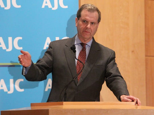 David Harris, AJC executive director, speaks at a program Tuesday on the recent terrorism in France at Temple Israel Center of White Plains.
