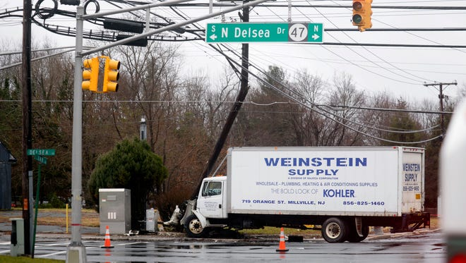 Authorities were on the scene of a two car accident involving a pick-up truck and a supply truck on N. Delsea and W. Oak Road in Vineland on Tuesday, January 24, 2017.