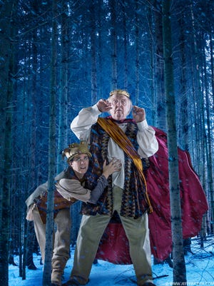 """Becky Wahlstrom, left, and David Landon perform in Nashville Shakespeare Festival's production of """"King Lear."""""""