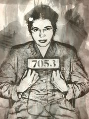 Rosa Parks mug shot, treated