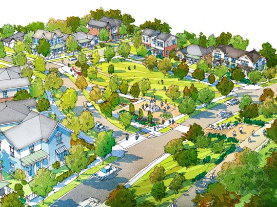 A concept drawing shows phase three of the Five Points reconstruction project: 80 affordable housing units, a playground and park. The project has received $11 million in tax credits.
