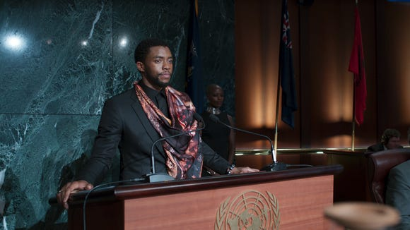 King T'Challa (Chadwick Boseman) has an important announcement for the United Nations in 'Black Panther.'