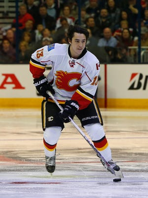 Team Toews forward Johnny Gaudreau (13) of the Calgary Flames takes part in the breakaway challenge in the 2015 NHL All-Star Game skills competition at Nationwide Arena.