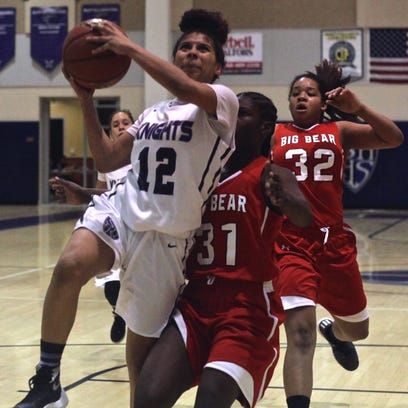 Shadow Hills' Jada Toland (12) in action during a home match with Big Bear High School on Monday, Jan. 11, 2015.