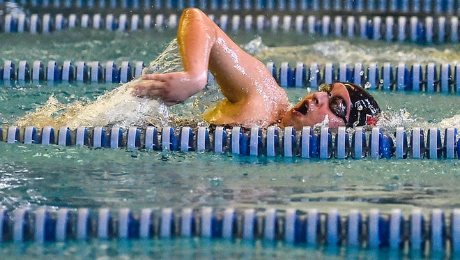 Harding's John Green closes in on his final lap of the boys 200-yard freestyle during the MOAC Swimming Championships held at the YMCA in Marion. Green finished seventh.