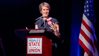 Cynthia Nixon speaks onstage during The People's State Of The Union at Town Hall on January 29, 2018 in New York City.