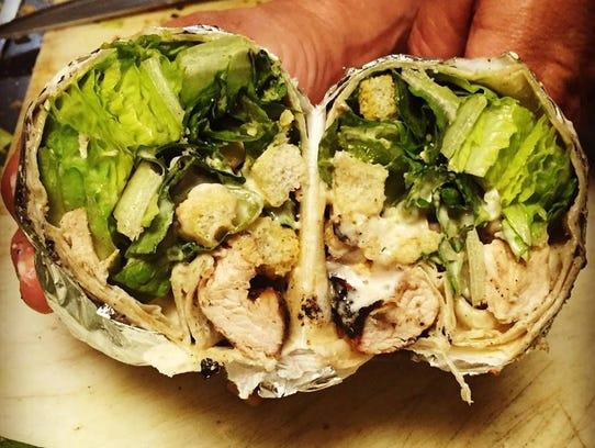 A chicken Caesar wrap from Claudie's Chicken in Middletown.