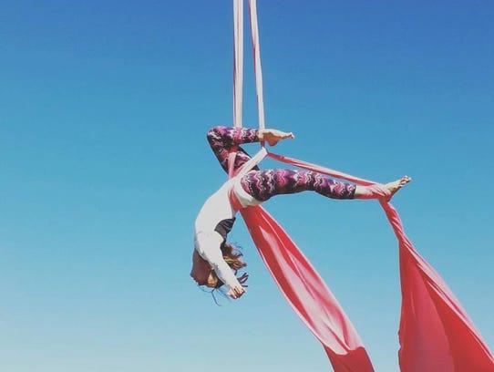 Silk aerialist Ashley Hall.