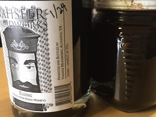 A bottle of Elding mead is seen with the Vahseer Meadworks