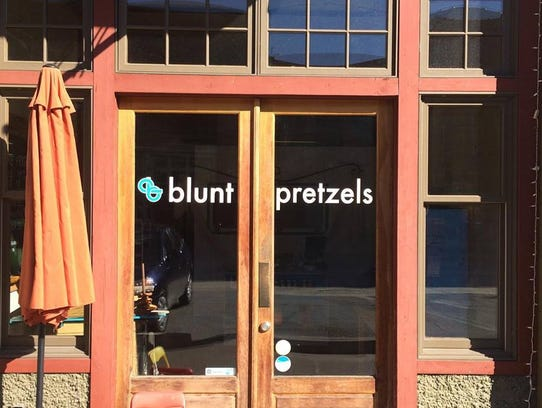 Blunt Pretzels store front in Marshall, NC.