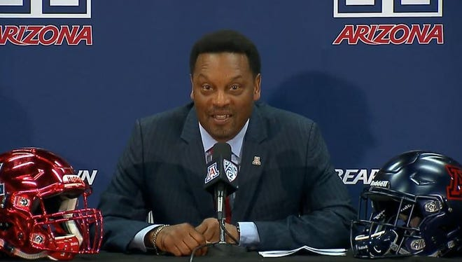 Kevin Sumlin was introduced as the new head coach at Arizona on Jan. 16, 2017 in Tucson/