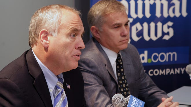 Comptroller Tom DiNapoli is seen with Republican challenger Bob Antonacci during an Editorial Spotlight interview in White Plains Oct. 22, 2014.