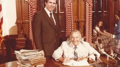 Contributed photo State Rep. Lanny Hall with Republican Gov. Bill Clements, who in 1979 was signing Regional Transportation Authority legislation to create a rapid transit system for the Dallas-Fort Worth area.