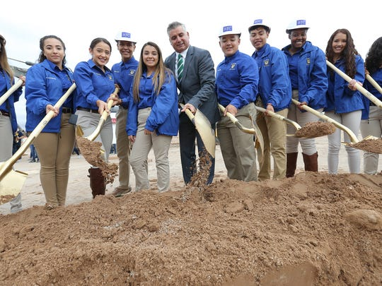 YISD Superintendent Dr. Xavier De La Torre breaks ground for the new Eastwood High School alongside members of the Student Council in September.