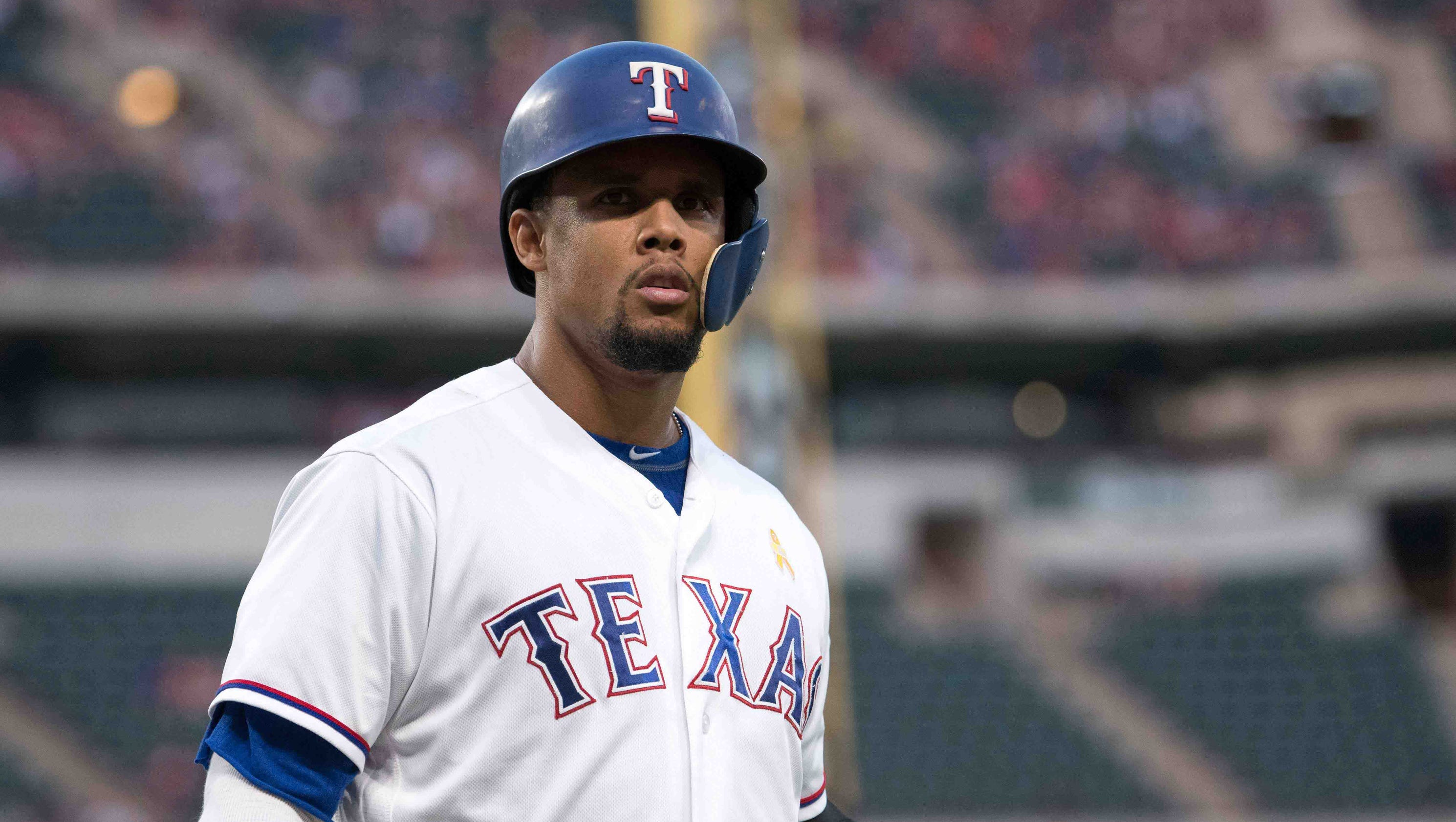 31 AUG 2016: Texas Rangers Outfield Carlos Gomez (14) [6287] hits