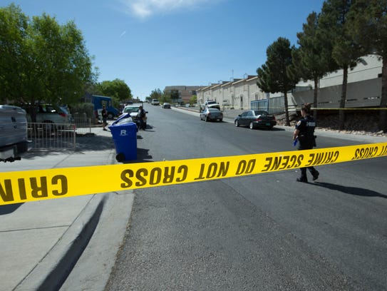 Athenian Way and Foothills Drive was closed to traffic Tuesday, April 23, 2018 as Las Cruces police investigated a fatal shooting that happened the evening before.
