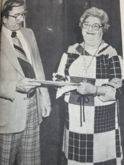 Mrs. Ruth Spencer represented the Union County Heart Fund in January 1981 to receive cash and securities with a book value of $30,977.65 from Marvin Posey, vice-president and trust officer at Morganfield National Bank, as a contribution from the estate of the late Phil E. Richards.