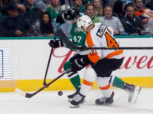 Dallas Stars right wing Alexander Radulov (47) battles Philadelphia Flyers defenseman Andrew MacDonald (47) for the puck during the first period of an NHL hockey game in Dallas, Tuesday, March. 27, 2018. (AP Photo/Michael Ainsworth)