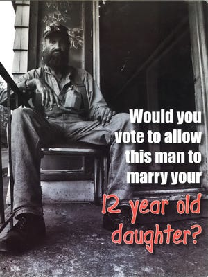 A 2006 mailer from the Republican Party of Kentucky attacking a Democrat for his vote against a child marriage bill.